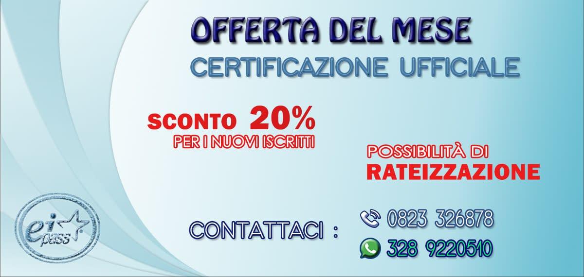 Se vuoi partecipare alla certificazionem il Costo Eipass 7 moduli User per questo mese è in offerta